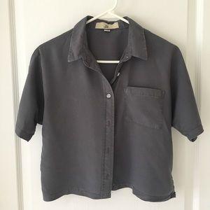 Short-sleeve button down crop top